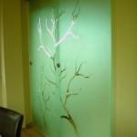 Плъзгаща се стъклена врата от закалено стъкло с рисунка