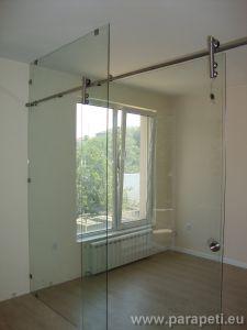 Стъклена плъзгаща врата с точково окачване